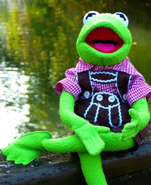 Lederhosen Tracht getragen von Kermit